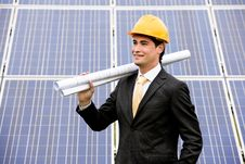 Free Engineer At Solar Power Station Royalty Free Stock Photography - 20762007