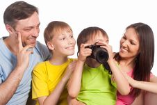 Free Happy Family With Camera Stock Images - 20762364
