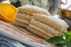 Sponge Cake With A Delicate Soufflé Royalty Free Stock Image