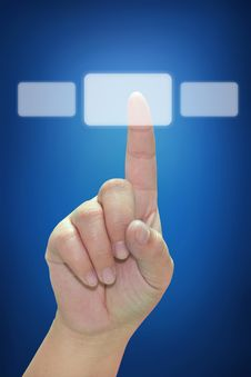 Free Hand Pushing Touchscreen Button Royalty Free Stock Photography - 20762897