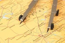 Free Mathematical Compass On A Map Royalty Free Stock Images - 20763279