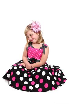 Little Girl In A Pretty Pink Dress Royalty Free Stock Photos