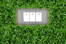 Switch Button In Grass Stock Photo