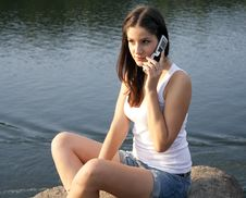 Free Adult Girl Talking On The Phone Royalty Free Stock Images - 20765369
