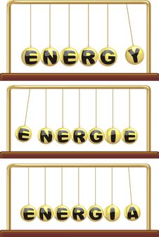 Energy In Foreign Languages - Newton`s Cradle Royalty Free Stock Photos