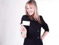 Free Businesswoman With Business Card Royalty Free Stock Photography - 20765427