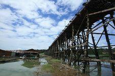 Wooden Structure Bridge At Sangklaburi Stock Image