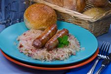 Free Sausages On Sauerkraut Royalty Free Stock Images - 20766399