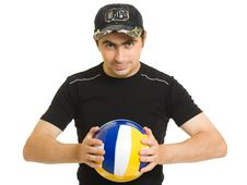 Free Volleyball Men With The Ball. Royalty Free Stock Photography - 20766557