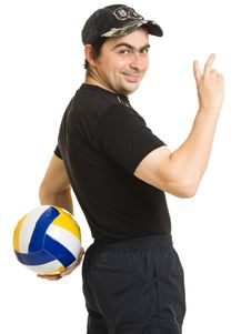 Free Volleyball Men With The Ball. Stock Images - 20766574