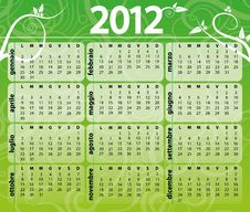 Free 2012 Green Calendar Royalty Free Stock Photography - 20768137