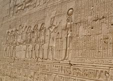 Hieroglyphic Carvings In An Egyptian Temple Wall Stock Photos