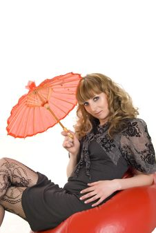 Free Girl Under An Red Umbrella Royalty Free Stock Photography - 20771457