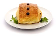 Free Pain Au Chocolat And Mint On A White. Stock Photos - 20772613
