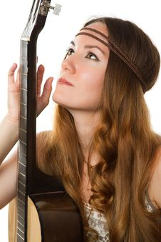 Free Hippie Girl With A Guitar Stock Photo - 20773040
