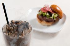 Free Gourmet Burger And A Milkshake Stock Photography - 20773232