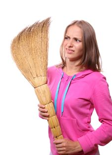Free Woman With Broom Stock Photography - 20774292