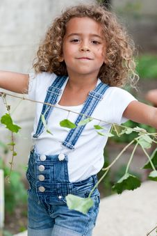 Cute Little Girl Gardening Stock Images