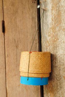 Rice Box Made of Bamboo Royalty Free Stock Photos
