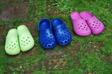 Free Three Pairs Of Rubber Slippers Stock Photography - 20775612