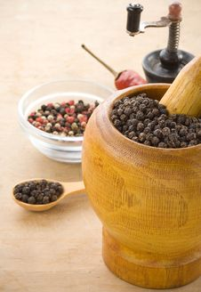 Spices And Mortar On Wood Stock Photo