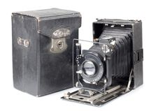 Old Camera And Cover Stock Image