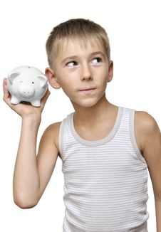 Child With His Piggy-bank Royalty Free Stock Photo