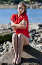 Free Girl Badly Frozen Sitting On A Rock Royalty Free Stock Photography - 20787877