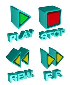 Free 3d Media Player Buttons Stock Image - 20780241