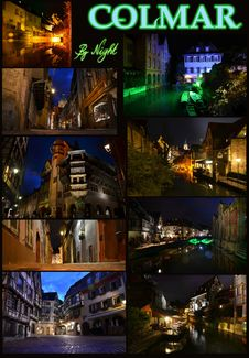 Colmar By Night Royalty Free Stock Photo