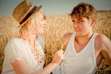 Free Image Of Young Man And Woman On Wheat Field Stock Image - 20781071