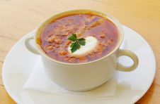 Free Soup With Sour Cream On The Plate Stock Photos - 20781673