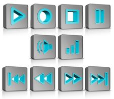 Metal 3d Cubes Buttons Royalty Free Stock Photography