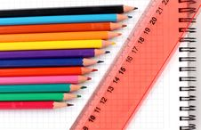 Free Pencils Color On Book Stock Image - 20782001