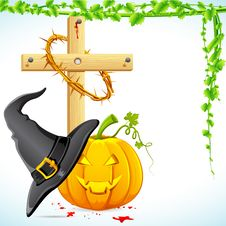 Free Halloween Witch Hat With Pumpkin Stock Image - 20783101