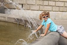 Free Little Girl Playing With Water - The Fountain Stock Photos - 20783483