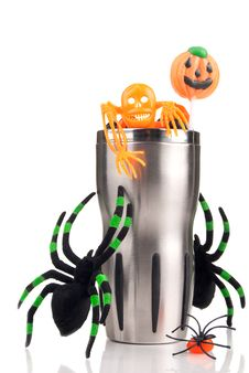 Free Halloween Cup With Spiders, Candy, Lollipop Royalty Free Stock Photo - 20784835