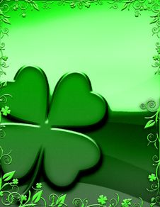 Free Four Leafed Clover With Floral Border Stock Images - 20785224