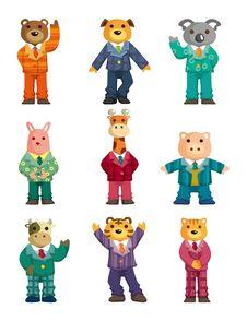 Cartoon Animal Icons Set Stock Photography