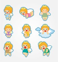 Free Cartoon Angel Icon Set Royalty Free Stock Photos - 20785788