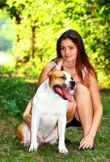 Free Girl With Dog In A Park Stock Photo - 20785960