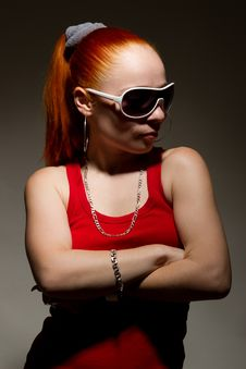 Fashionable Hip-hop Chick Posing In Studio Stock Photo
