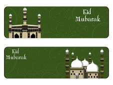 Free Vector Set Of Eid Mubarak Headers Royalty Free Stock Photography - 20787247