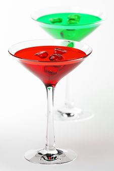 Martini Glass With  Coctails On White Stock Images