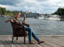 Free Girl Sitting In The Pier Stock Photo - 20788120