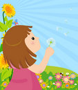 Free Girl Blowing Dandelion Stock Image - 20790881