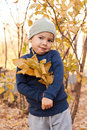Free Boy Walking In Autumnal Park Stock Photography - 20792092