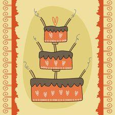 Greeting Card With Cake Stock Photos