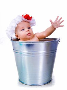 Free Baby On A Bucket Stock Photography - 20790472