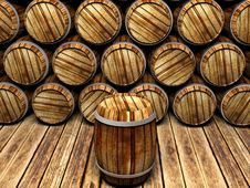 Free Wall Of Wooden Barrels Royalty Free Stock Image - 20791356